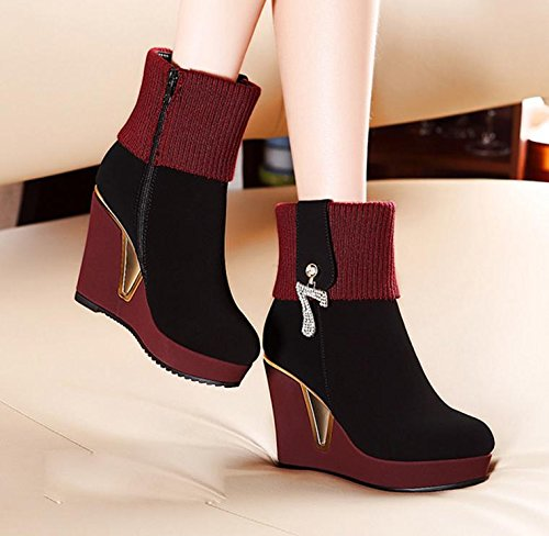 The 90160CM boots RED women's boots with slope with round boots new female NSXZ dtB7qwd