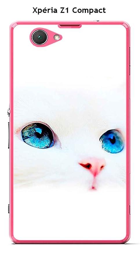 Onozo Carcasa Sony Xperia Z1 Compact Design gato blanco ojos ...