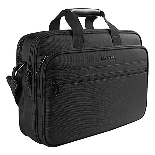 KROSER Laptop Bag Laptop Briefcase Water-Repellent Light Weight Shoulder Bag Laptop Messenger Bag Fits Up to 15.6 Inch Laptop Computer Bag For Travel/Business/School/Men/Women-Black
