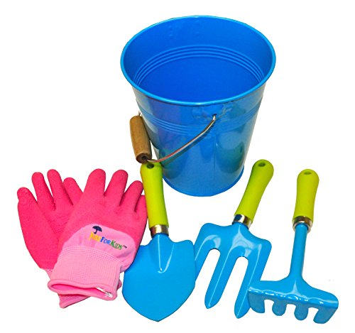 G & F 10051 JustForKids Kids Water Pail with Garden Tools Set and Gloves, Blue (Tools Works Garden)
