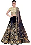 A.R.Sundaram Fashion Women's Velvet Lehenga Choli (ARS-81, Blue, Free Size)