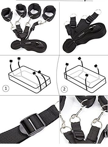 Sex Straps for Under Bed Restraints Bondageromance Sex Play BDSM SM Bondage Restraining Fetish Fur Game Tie up Handcuffs Mattress Harness Things Blindfold Whips Toys Adults Kit Couples Women Men by ALUTT (Image #2)