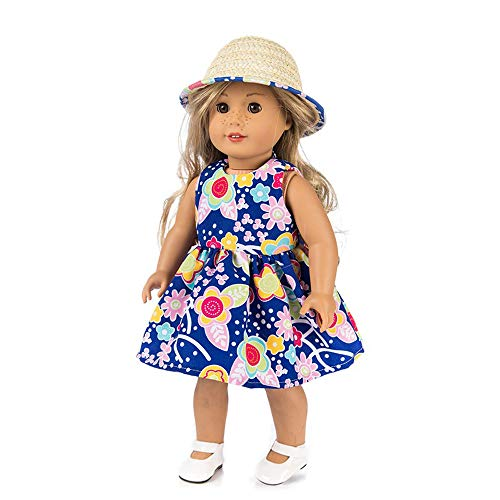 2PC Clothes Dress for 18 Inch American Girl, Doll Accessory Costumes Girl Dress+Hat Toy Clothes Party (Blue) -
