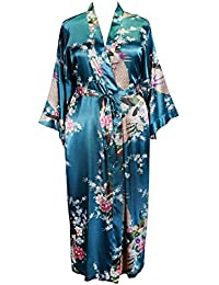 8a677fc15a 838 - Plus Size Women s Kimono Long Robe - Peacock and Blossom (US One-
