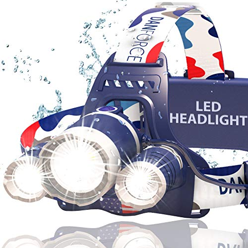 Headlamp, DanForce Red LED Headlamp, Rechargeable Headlamp - CREE 1080 Lumens Brightest Zoomable Head Lamp Flashlight. Headlight USB Rechargeable, IPX45 HeadLamps. Best For Camping, Outdoors, Adults.