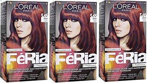 3 x Loreal París Feria – 3.66 Pure Color Morado – Tinte para cabello colorante)