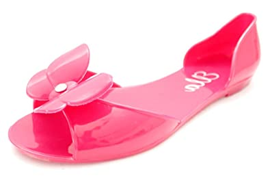 6b7ff881782d Image Unavailable. Image not available for. Colour  F10130Fus Ella  Butterfly Womens Jelly Jellies Peep Toe Sandals Beach ...