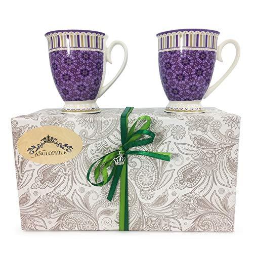 Bone China Mug Set Of Two In Gift Box (Purple Floral Stripe)