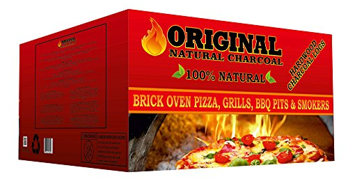 Original Natural Charcoal Charcoal Logs Brick Oven Pizza 100% Hardwood Charcoals - Unique Blend of Apple, Cherry, and Oak Trees - Easy to Light, Burns Long, Low Ash - 12 logs/Box (13.22 lbs)