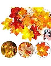 Sinicyder Lichtketting voor de herfst, 3 m, 30 leds, 8 modi (met afstandsbediening), esdoornblad, lichtketting, decoratie, herfstdecoratie voor tuin, buiten, Thanksgiving, Halloween