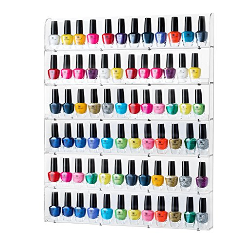 Sagler Rack Acrylic Nail Polish Organizer Holds up to 102 Bottles, Clear Holder Storage