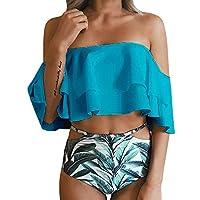 Imilyela Women's Bikini Ruffle Off Shoulder Top & Floral Shorts Swimsuit Bathing Suit 2pc Sets
