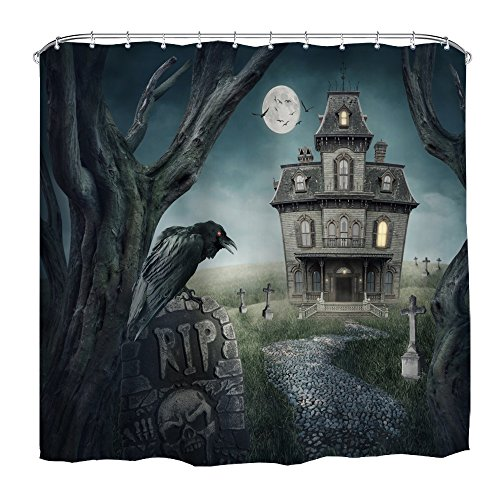 QiyI Halloween Decor Shower Curtain Mildew Resistant,Anti-Bacterial,No Any Chemical Odor,Silky 100% Polyester Fabric,Easy to Rinse Off and Hang for Bathroom 72