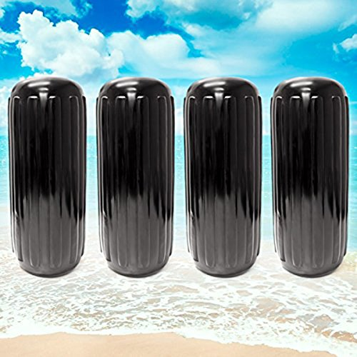 "NEH Center Hole Ribbed Boat Pontoon Fender 10"" x 28"" 4pcs Inflatable Vinyl Mooring Bumpers Guard Dock Docking - Black"