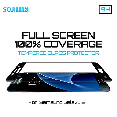 SOJITEK Samsung Galaxy S7 100% 3D Full Screen Coverage Including Curved Edge Black Premium Ballistic Tempered Glass Screen Protector w/ Lifetime Replacement Warranty - (HD) Ultra Clear 99.99% Clarity