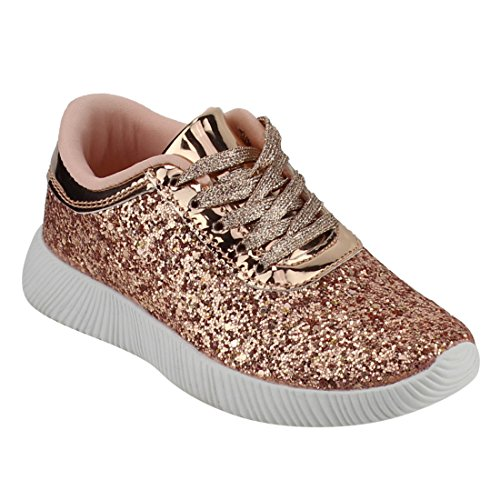 Link Kids Lace up Sneakers 19,Rosegold,12 - 19 Sparkle