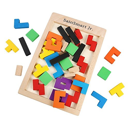 51PTlE9xSCL - SainSmart Jr. Wooden Tetris Puzzle 40 Pcs Brain Teasers Toy for Kids, Wood Puzzle Box Brain Games Wood Burr Tangram Jigsaw Toy Children Days