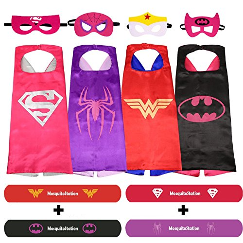 [Superhero Dress Up Costumes For Girls - 4 Satin Capes, 4 Felt Masks, 4 Natural Mosquito Repellent Bracelets Superhero Style and 4 Stickers by] (Sexy Maternity Halloween Costumes)