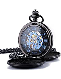 Double Cover Roman Numerals Dial Skeleton Pocket Watches with Gift Box and Chain for Mens Women