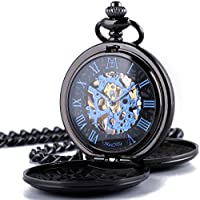 ManChDa Double Cover Roman Numerals Dial Skeleton Mens Women Pocket Watch Gift (1.Black Blue)