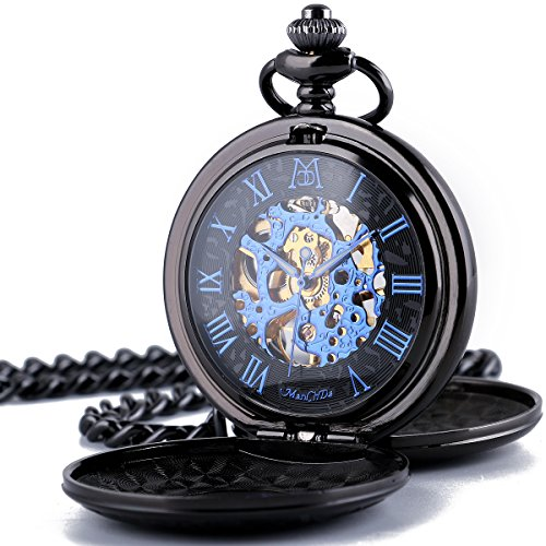 ManChDa Retro Mens Black Blue Double Open Skeleton Mechanical Roman Numerals Pocket Watch With Chain Gift