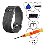 Fnms Replacement Bands for Fitbit Charge HR Band, Top Quality TPU Replacement Large and Small Band Bracelet Strap for Fitbit Charge HR Wireless Activity Wristband (Black 1-Pack, Large (6.2
