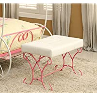 Furniture of America Ashley Fairy Tale Leatherette Bench, Pink & White