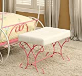 HOMES: Inside + Out Furniture of America Ashley Fairy Tale Leatherette Bench, Pink & White