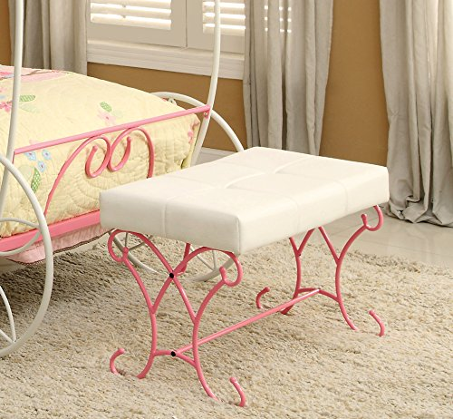 HOMES: Inside + Out Furniture of America Ashley Fairy Tale Leatherette Bench, Pink & White by HOMES: Inside + Out