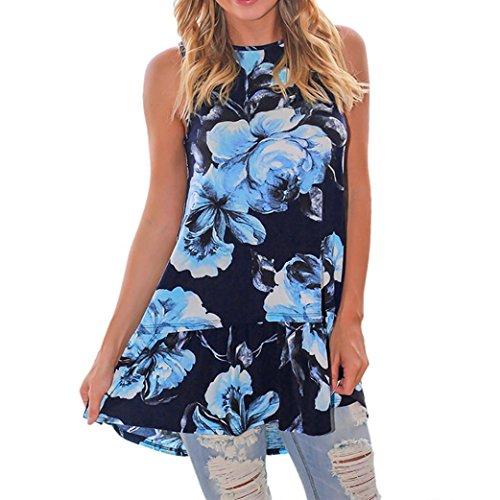 NREALY Fashion Women Ladies Floral Sleeveless Vest Tank Blouse Tops Shirts (XL, Blue)
