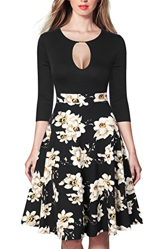 REPHYLLIS Women's Vintage Rockabilly Key Hole Cocktail Formal Swing Dress M - Vintage Hole Key