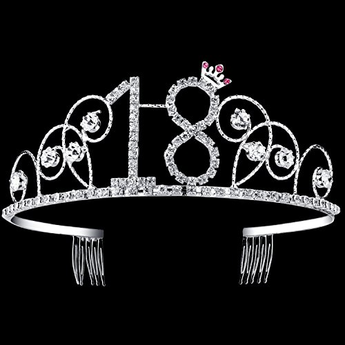 BABEYOND Crystal Birthday Tiara Crown Princess Birthday Crown Hair Accessories Happy 18th Birthday Crown Tiara for Women (18 Birth)]()