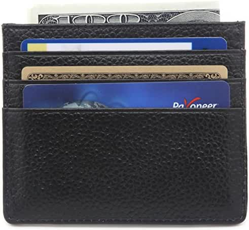 DEEZOMO Genuine Leather RFID Blocking Card Case Compact Wallet Slim Super Thin 6 Card Slots