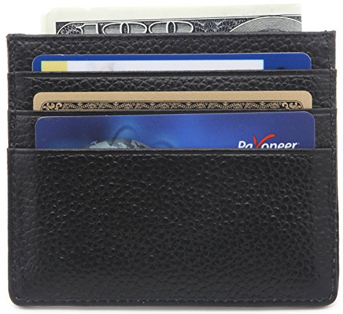 DEEZOMO Genuine Leather RFID Blocking Card Case Wallet Slim Super Thin 6 Card Slots Compact Wallet - Black