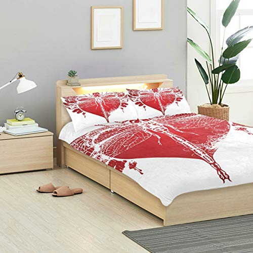 KVMV Graphic Abstract Dragonfly Red Duvet Cover Set Design Bedding Decoration Queen/Full 3 PC Sets 1 Duvets Covers with 2 Pillowcase Microfiber Bedding Set Bedroom Decor Accessories