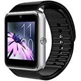 SBA SW-001(Silver/Black) Bluetooth Smart Watch Phone With Camera and Sim Card Support With Apps like Facebook and WhatsApp Touch Screen Multilanguage Android/IOS Mobile Phone Wrist Watch Phone with activity trackers and fitness band features compatible with Samsung IPhone HTC Moto Intex Vivo Mi One Plus and many others! Launch Offer!!