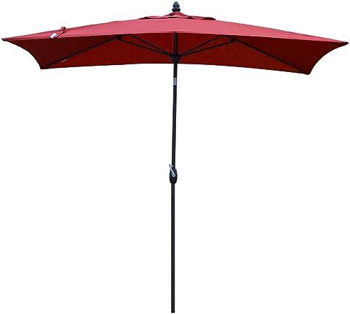 SORARA Patio Umbrella Rectangular Outdoor Market Table Umbrella with Push Button Tilt Crank Umbrella Cover, 6.5 x 10 , Red