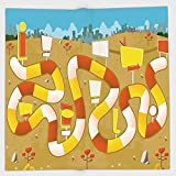 Cotton Microfiber Hand Towel,Board Game,Block Path on a City Park with Billboards Direction Signs Challenge Outdoors Decorative,Multicolor,for Kids, Teens, and Adults,One Side Printing