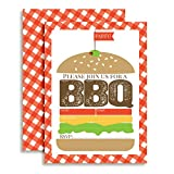 Hamburger Backyard BBQ Party Fill In Invitations set of 10 with envelopes. Perfect for Summer parties, graduation, family reunions, barbeques and more