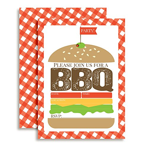Hamburger Backyard BBQ Party Fill In Invitations set of 10 with envelopes. Perfect for Summer parties, graduation, family reunions, barbeques and (Bbq Invitation)