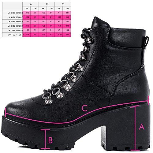 SPYLOVEBUY SHOTGUN Damen Schnür Blockabsatz Stiefeletten Schuhe SHOTGUN 3 - Schwarz - Synthetik Kunstleder