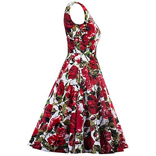 RBB M Tutu Abito Print Rose Retro V rosso Deep Dress sera Sexy da zBnRrz7xp