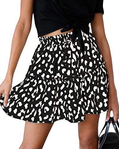 Womens Laopard High Waist Pleated Mini Skirts Youth Summer Casual A Line Swing Skater Skirts