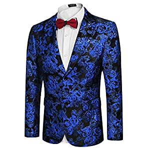 COOFANDY Men's Floral Tuxedo Jacket Rose Embroidered Suit Jacket Wedding Prom Dinner Party Blazer