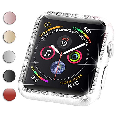 - Compatible with Apple Watch Case 38mm 40mm 42mm 44mm,for Apple Watch Face Case with Bling Crystal Diamonds Plate iWatch Case Cover Protective Frame for Apple Watch Series 4/3/2/1 (Silver, 42mm)