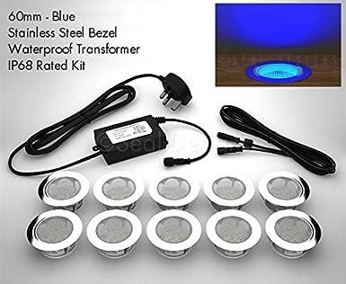 10 30mm LED Lights Plinth//Decking//Deck BLUE IP66 NEW