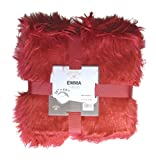 DINY Home & Style Faux Mongolian Fur and Micro-Micro Mink Throw Blanket Two Sided Reversible (Red)
