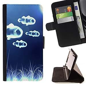 Momo Phone Case / Flip Funda de Cuero Case Cover - Pescado Blanco Azul Mar Wonder - LG Nexus 5 D820 D821