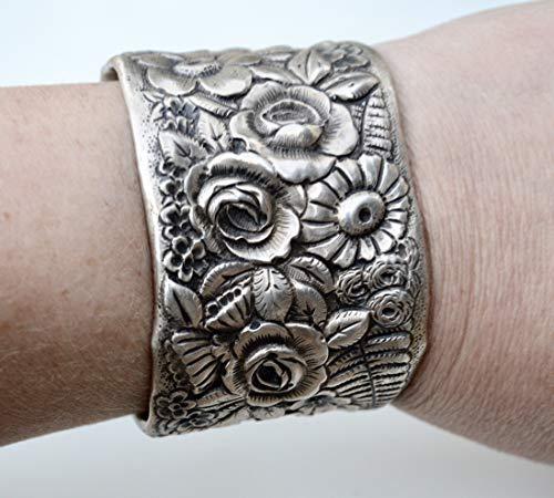 - Victorian Antique Floral Tiffany Cuff Bracelet Art Nouveau 925 Solid Sterling Silver Repoussé Wide Wedding, Bouquet, Bride, Bridal, Small, Petite