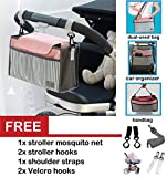 Best Universal Baby Jogger Stroller Organizer Bag Diaper Bag with Stroller Hooks - Mosquito Net and Shoulder Strap. Extra Storage Space for Organize the Baby Accessories and Your Phones